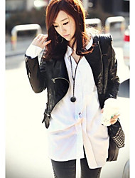 Women's Slim Round Neck Short Punk Motorcycle Coat