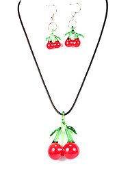 Sweet Cherry Red Acrylic (Necklaces&Earrings) Crystal Jewelry Sets