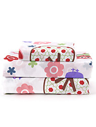 "Sheet Set,4-Piece Microfiber Cartoon Animal Multicolor Stars Flowers with 12"" Pocket Depth"