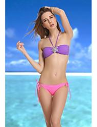 De VBM Marca Para Mujer Moda Violeta Cristal Retro Bikini palabra de honor del traje de baño de natación