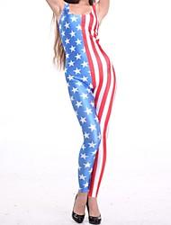 Elonbo Frauen die Flagge-Art Digital Painting mit hoher Taille dehnbar Schlank Jumpsuit Body