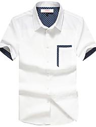 Splice bolso de Slim manga curta simples camisa dos homens Lucassa (branco)
