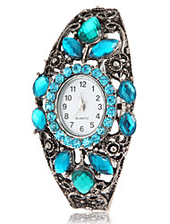 Women's Bohemia Style Blue Crystal Silver Alloy Quartz Bracelet Watch