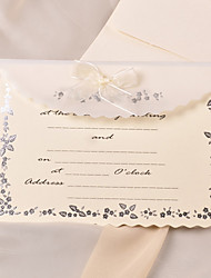 Simple Wedding Invitation With Organza Bow (Set of 50)