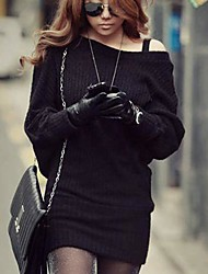 Women's Off The Shoulder Batwing Sleeve Knitted Mini Dress