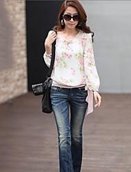 Donna floreale a maniche lunghe in chiffon camicetta