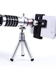Универсальный алюминиевый сплав Набор 16X телефото зум-объектив с металлической клипсой - Серебро