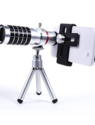 Universal-Aluminium-Legierung 16x Tele-Zoom-Objektiv-Set mit Metallclip - Silber
