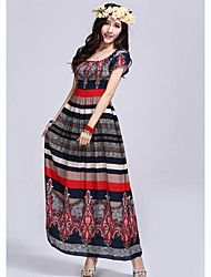 Women's Dresses , Cotton Casual Blue Fantasy