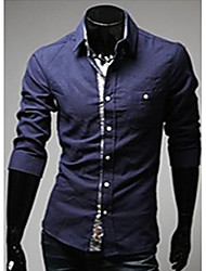 U2M2 Men's Simple Navy Blue Lapel Neck  Buckle  Shirt