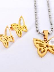Sweet  Butterfly Titanium Steel   Necklaces Earrings  Gemstone Jewelry Sets