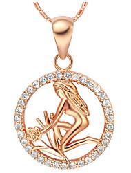Alliage Mode zodiac virgo collier des femmes avec strass (1 pc) (or, argent)
