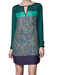 Mujeres Maxlove Contraste simple color de vestido de H-Line