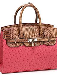 Makko Women's Fashion OL Style Contrast Color Ostrich Pattern PU Handbag