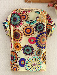 Women's Round Flower Print Blouse