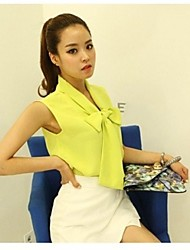 JFS Women's Sleeveless Solid Color Bow Fitted Chiffon T Shirt