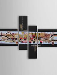 dipinto a mano olio su tela astratta con telaio allungato - set di 4