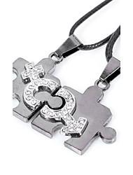Men's Women's Pendant Necklaces Statement Necklaces Crystal Geometric Stainless Steel Titanium Steel Unique Design Dangling Style Love