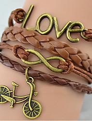 shixin® europeu amor indivíduo amor bicicleta 20 centímetros pulseira envoltório liga das mulheres (1 pc)