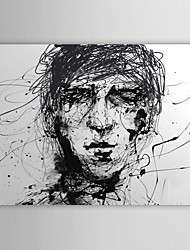 Hand Painted Oil Painting People  Sketch of Man's Head Black And White with Stretched Frame
