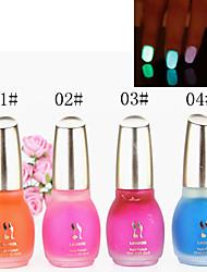 1PCS Laushine Luminous Noctilucent Fluorescent Nail Polish Glow in Dark Eco-Friendly(No.1-4,Assorted Colors))