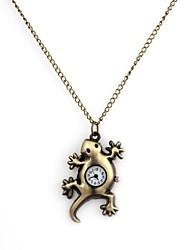 Unisex Gecko Pattern Alloy Analog Quartz Necklace Watch Cool Watches Unique Watches