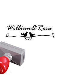 mariage de 33x63mm personnalisé& motif des oiseaux d'affaires rectangle gravé photosensible nom chevalière timbre (moins de 10 lettres)