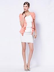 Chiffon coreano Sólidos Jacket Ruffle Hem Tweed das OSA Mulheres
