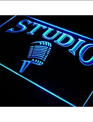i587 Studio On The Air Microphone Bar Neon Light Sign