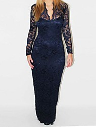 Women's Sexy Slim V-neck Long Sleeve Lace Maxi Dress