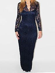 sexy slim v-pescoço de manga comprida vestido de renda maxi das mulheres