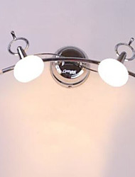 Bathroom Wall Light, 2 Luce, Moderno Acciaio Vetro Chrome