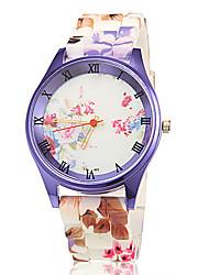 Women's Purple Case Colorful Silicone Band Quartz Wrist Watch