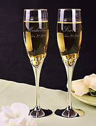 Personalized Toasting Flutes - Hollow Heart