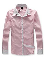 Fashion Long Pureté manches Couleur revers affaires des hommes T-shirt