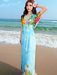 Le soleil Böhmen Ice CottonBeachLong Kleid (Light Blue)