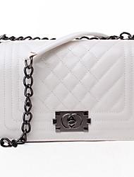 YanDu Korean Style Fashion Rhombus Pattern PU Chain Crossbody Bag(White)