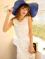 Women's Cute Solid / Lace Shift Dress , Round Neck Knee-length