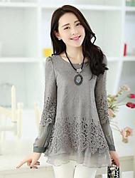 Women's White/Black/Gray Blouse, Round Neck Long Sleeve Lace And Mesh Stitching Layered Hem