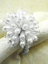 Fleur de perle Rond de serviette, perle de verre, Dia4.5CM, ensemble de 12