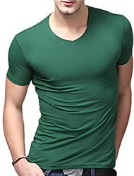 V-Neck T-shirt Eté T-shirts Support de U-Shark Men Pure Couleur vert noirâtre EOZY