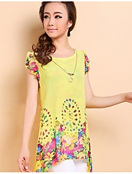 Women's Plus Size Spring / Summer Blouse,Print Round Neck Short Sleeve Blue / Pink / Black / Yellow Thin