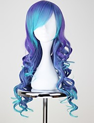 Cosplay Wigs Vocaloid Luca Blue Medium / Curly Anime Cosplay Wigs 75 CM Heat Resistant Fiber Female
