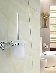 Elegante Prata Cristal Latão WC Escova Titular