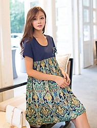 Maternity Cotton Patchwork with Printed Chiffon Dresses