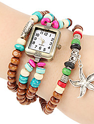 Women's Starfish Pendant Wooden Stretch Beaded Band Quartz Bracelet Watch Cool Watches Unique Watches