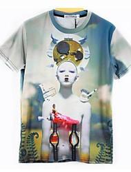Herren T-shirt-Druck Freizeit Baumwolle / Polyester Kurz-Mehrfarbig