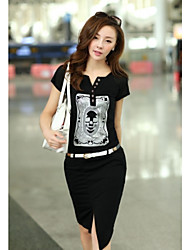 Stile coreano Estate V Neck Dress Stampe CHAOLIU WOMEN'S (con la cinghia)