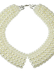 JANE STONE  Pearls Rosary Collar Beaded Necklace Bridal Necklace