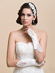Elbow Length Fingerless/Fingertips Glove Satin/Lace Bridal Gloves/Party/ Evening Gloves